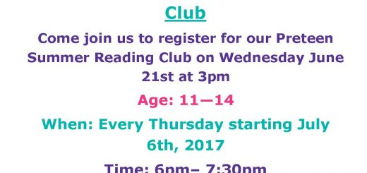 Preteen Summer Reading club